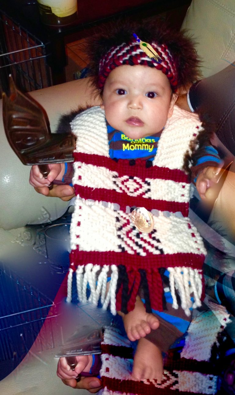 Charlie's regalia woven by Janice for the baby ceremony.