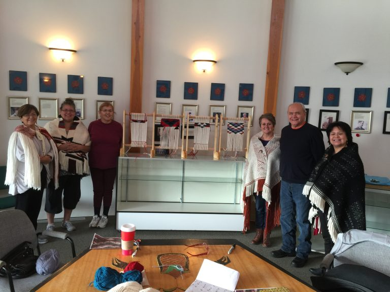 We recently taught a workshop on how to make geometric designs utilizing twining technique to weavers in Sechelt.
